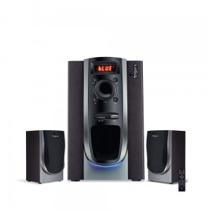 FINGERS Solitaire 2.1 Multimedia Wood Encased PC Speaker with Remote, Bluetooth, USB, FM Radio, MicroSD, Aux & LED Display